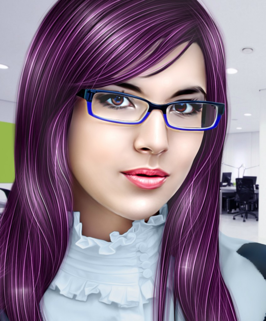 M.J. Roberts, Purple Hair, Glasses, Author