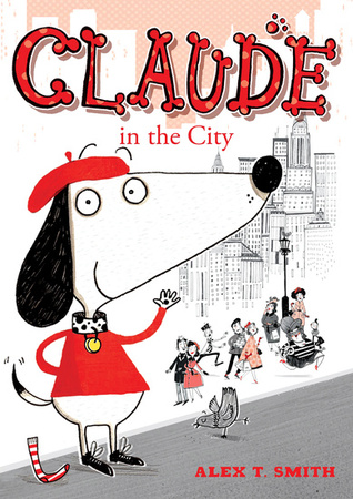 Children's Books, Claude in the City, People, Road, Pigeon, Sock, Dog, Beret, Red, White, Pink, Houses, Alex T. Smith