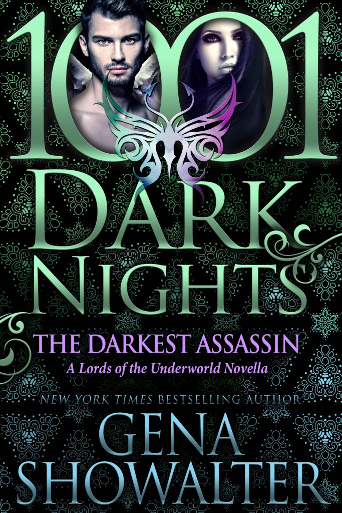 The Darkest Assassin, Gena Showalter, Black, Green, Cover, Romance, 1001 Dark Nights, Green Letters, Man, Woman, Cover