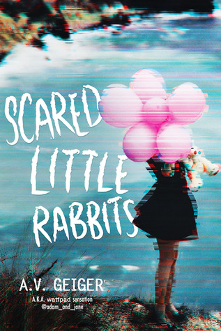 Scared Little Rabbits, A.V. Geiger, Pink Balloons, Coast, Sea, Cliffs, Girl, Black Dress, Young Adult, Mystery, Thriller