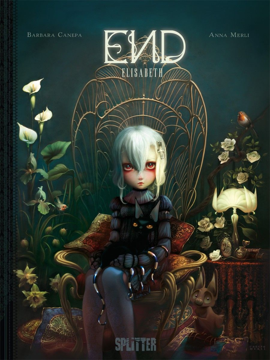 End: Elisabeth, Girl, Cat, Chair, Plants, Dark Colour, Lamp, Cushions, Flowers, Barbara Canepa, Anna Merli, Cover, Comics