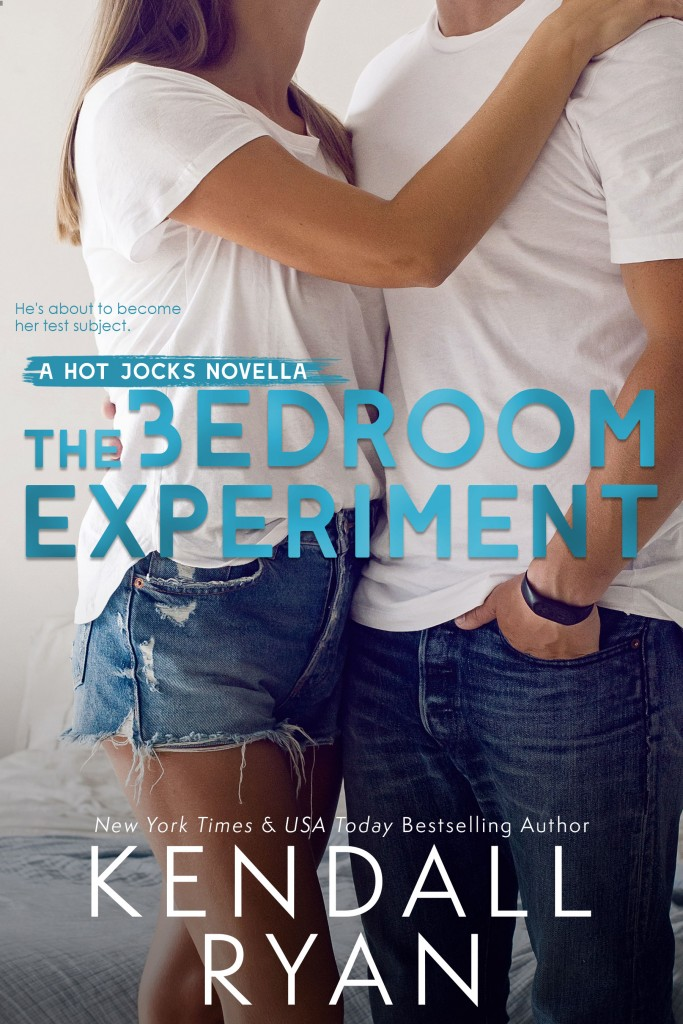THE BEDROOM EXPERIMENT, Kendall Ryan, White Shirts, Man, Woman, Hugging, Jeans, Blue/White Letters, Romance, Sports