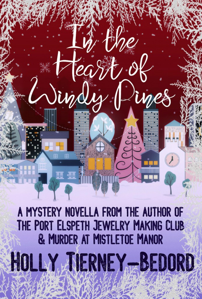 Village, Snow, Clock, Christmas Tree, Trees, Snow Flakes, Banner,In the Heart of Windy Pines, Red, Holly Tierney-Bedord