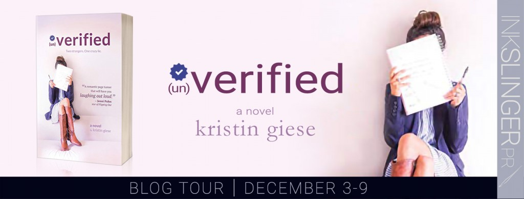 Unverified, Kirstin Gies, White, Girl, Hiding behind book, Purple Letters, Twitter, Banner