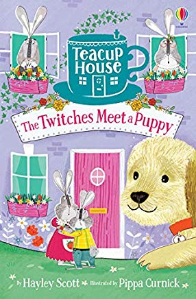 Hayley Scott, Pippa Curnik, The Twitches Meet a Puppy, Purple, House, Teacup, Puppy, Bunnies, Flowers, Grass, Children's Books