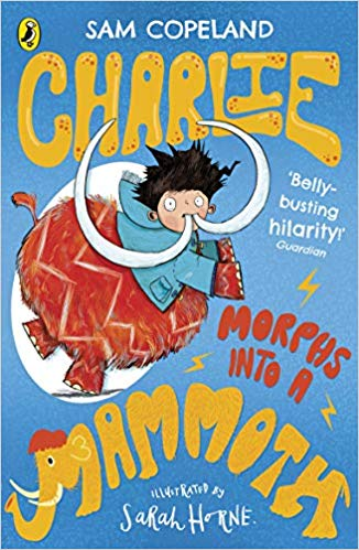 Charlie Changes Into a Chicken Book 3, Charlie Changes Into a Mammoth, Blue, Mammoth, Kid, Yellow Letters, Magic, Friendship, Children's Books
