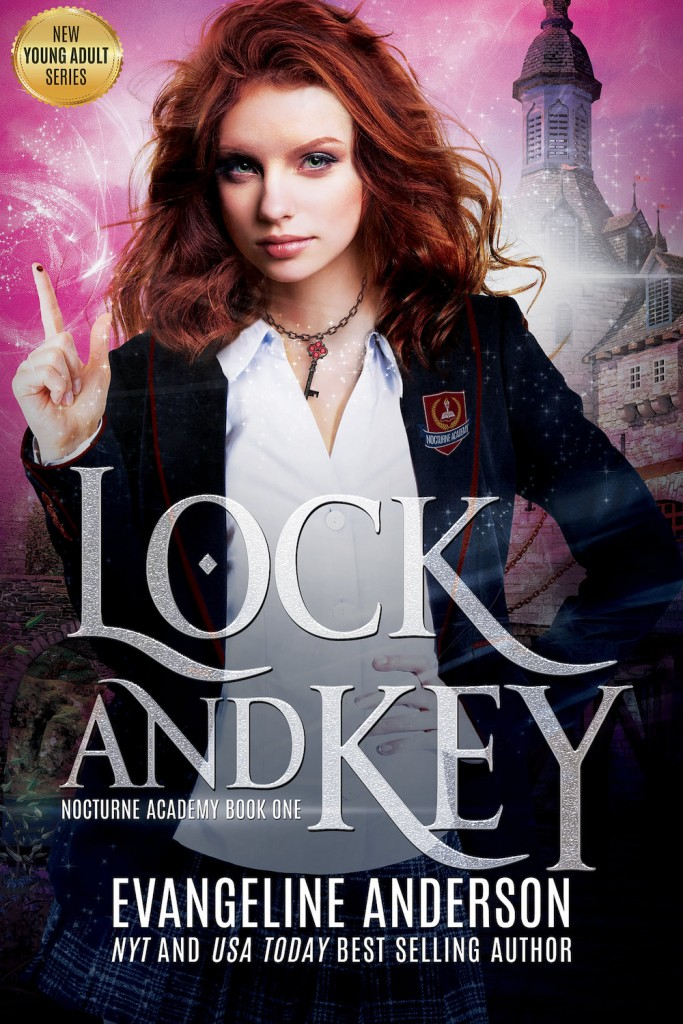Lock and Key, Nocturne Academy, Book 1, Pink, Girl, Castle, Sparkles, White Letters, Magic