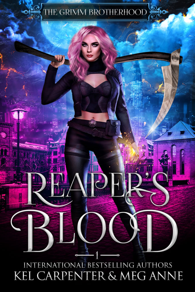 REAPER'S BLOOD, Kel Carpenter, Meg Anne, Moon, Covers, Books, Scythe, Magic, Romance, Urban Fantasy, Pink, Blue, White Letters, Pink Hair, Kick-ass Girl