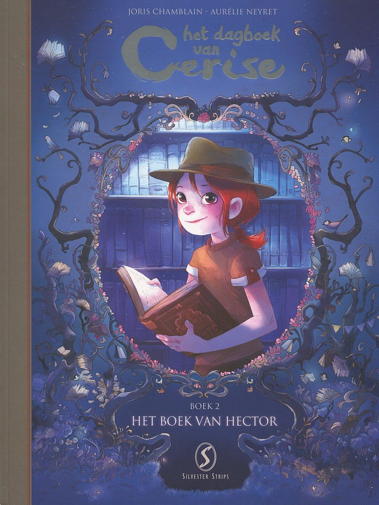 Red Hair, Book, Books, Flowers, Comics, Dutch,Het boek van Hector, Het dagboek van Cerise, Joris Chamblain, Aurélie Neyret, Girl, Blue, Silver letters,