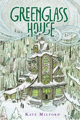 Greenglass House, Children's Book, Kate MIlfor, Jaime Zollars, Fantasy, Mystery, Smugglers, Snow, Inn, Home, Forest, Snow, Clouds, Green Font