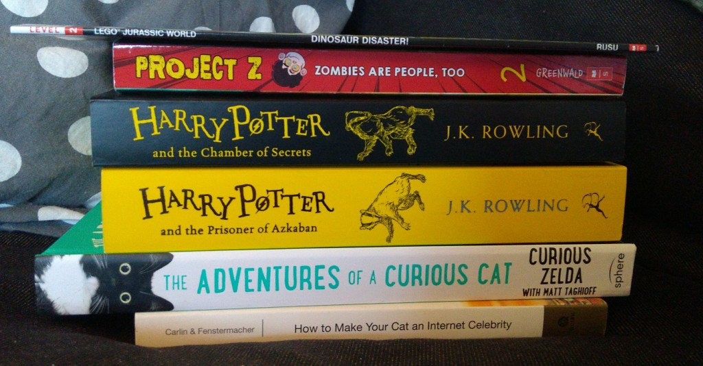 Birthday, Books, Stack of Books, Harry Potter, Cats, Dinosaurs