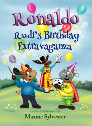 Reindeer, Balloons, Grass, Party, Magician, Party Hats, Children's Books, Illustrations, Maxine Sylvester,Ronaldo the Flying Reindeer #3, Ronaldo: Rudi's Birthday Extravaganza,