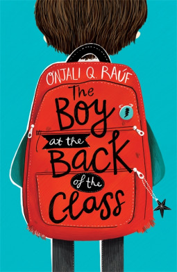 The Boy at the Back of the Class, Boy, Backpack, Star Keyring, Children's Book, Blue Background, Realistic Fiction, Refugee, Family