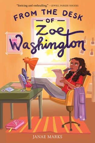 From the Desk of Zoe Washington, Janae Marks, Desk, Chair, Window, Carpet, Girl, Paper, Letter, Orange, Children's Books, Mystery, Baking