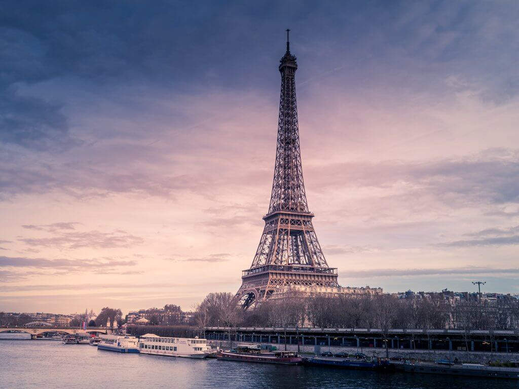 Paris, Seine, Eiffel Tower, Sky, Clouds, Boats, Photograph