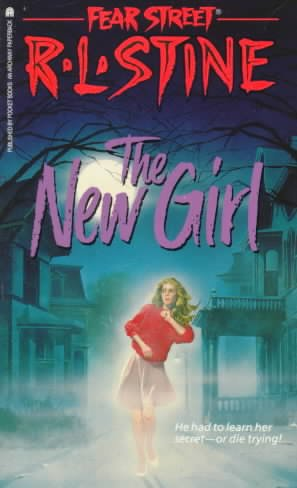 New Girl, Fear Street, Night, Moon, Trees, Red Letters, Purple Letters, Girl, Red Sweater, Horror, Mystery, Threats, New Girl, Romance, Stupid Decisions, R.L. Stine, Young Adult