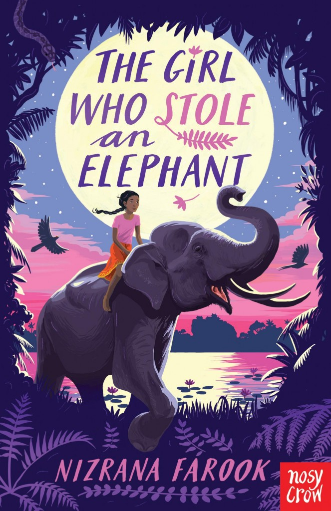 The Girl Who Stole an Elephant, Nizrana Farook, Purple, Moon, Water, Reflection, Girl, Elephant, Children's Books, Royalty, Theft, Jungle, Adventure