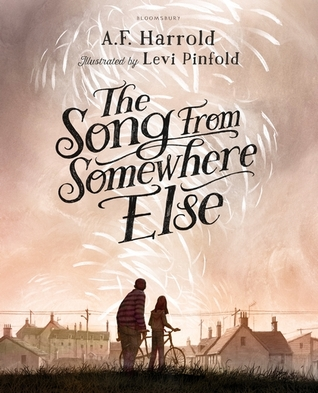 The Song From Somewhere Else, A.F. Harrold, Levi Pinfold, Sepia, Houses, Girl, Boy, Bicycle, Fantasy, Music, Children's Books,