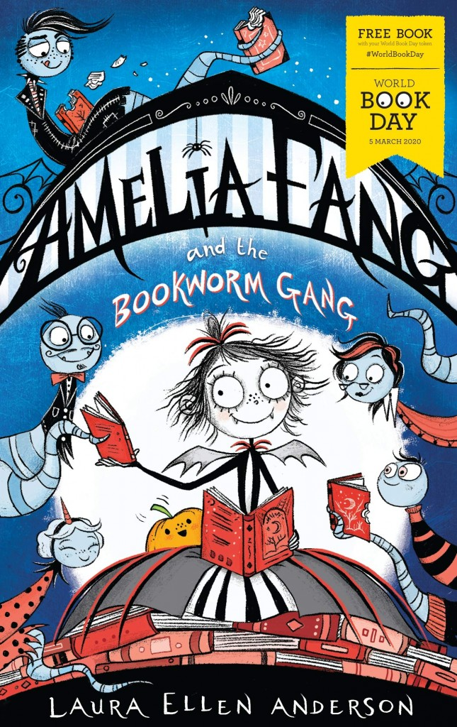 Amelia Fang and the Bookworm Gang, Laura Ellen Anderson, Blue, Bookworms, Vampire, Girl, Magic, Fantasy, Friendship, Moon, Pumpkin, Books, Reading, Yeti, Fairies, Children's Books, World Book Day 2020, World Book Day