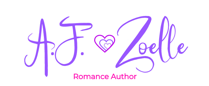 A.F. Zoelle, Author, Logo, Purple Letters, Heart