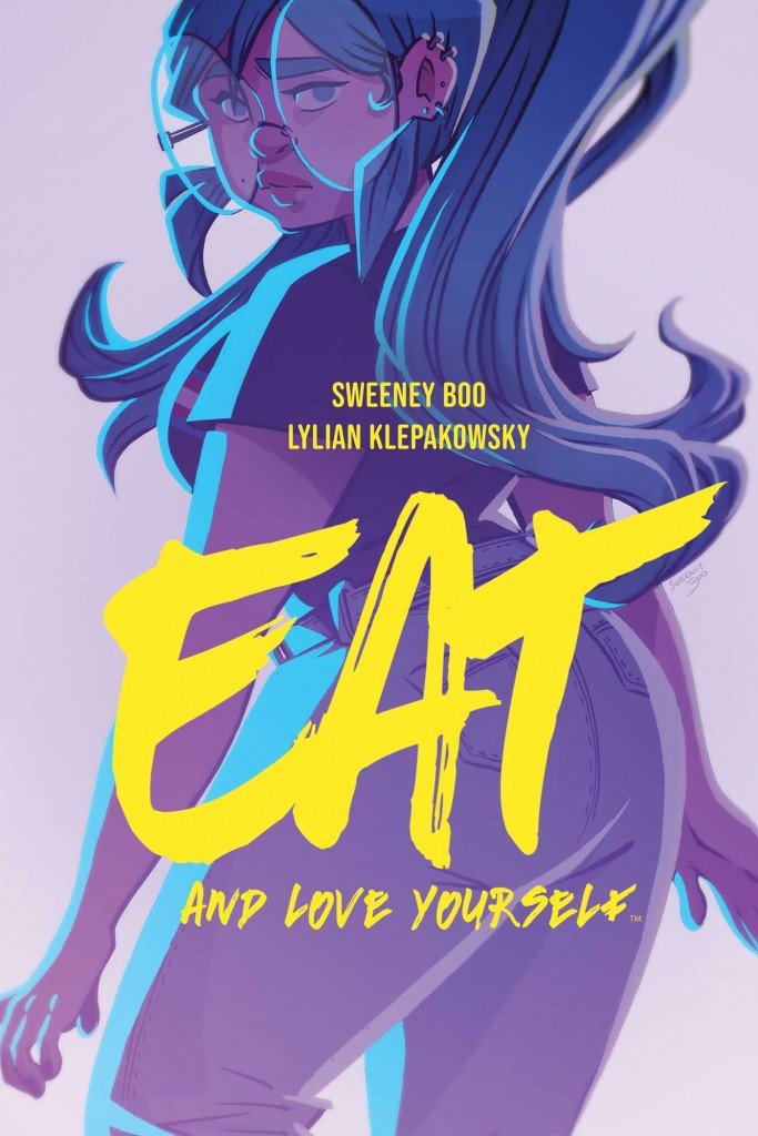 Eat and Love Yourself, Sweeney Boo, Lilian Klepakowsky, Girl, Glasses, Huge ass glasses, Yellow font, mental health, fantasy, chocolate, body issues, eating disorder, friendship, romance, graphic nonvel, purple,
