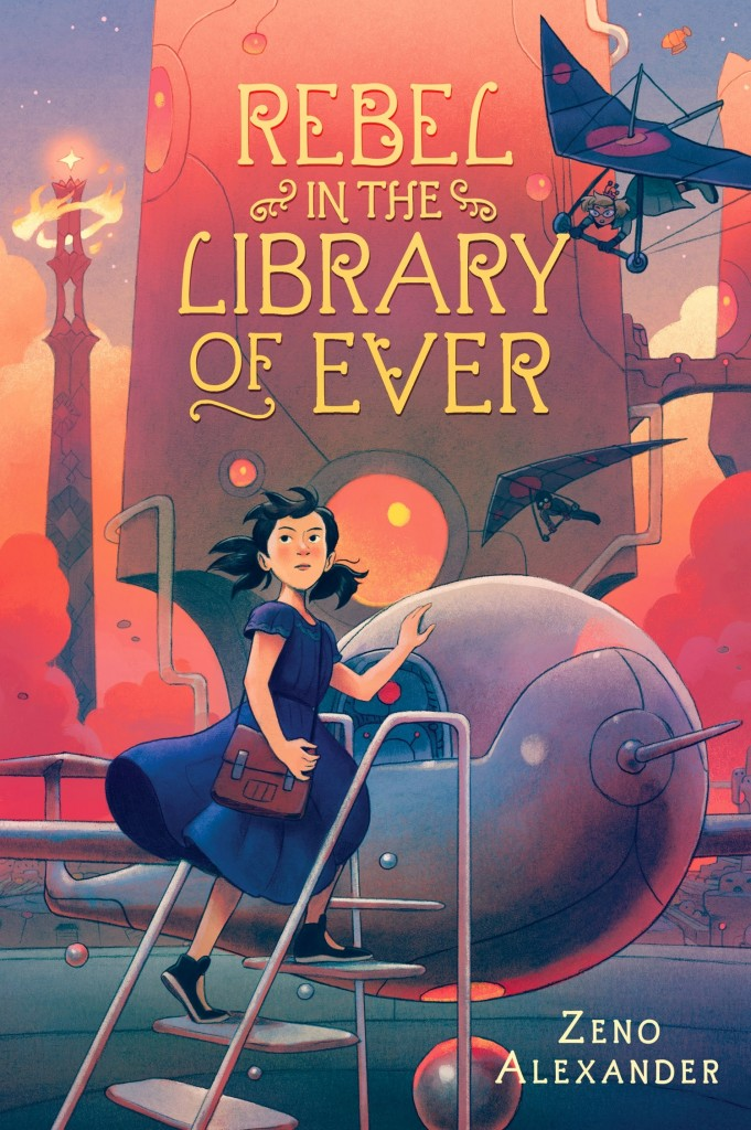 REBEL IN THE LIBRARY OF EVER, Zeno Alexander, Pink, Orange, Girl, Ladder, Fantasy, Library, Books, Resistance, Machine