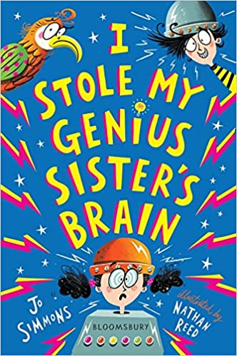 I Stole My Genius Sister's Brain, Jo Simmons, Nathan Reed, Inventions, Parrot, Bird, Girl, Boy, Lightning Bolts, Humour, Funny, Inventions, Illustrations, Sister, Brother, Family, Quiz, Children's Books, Blue