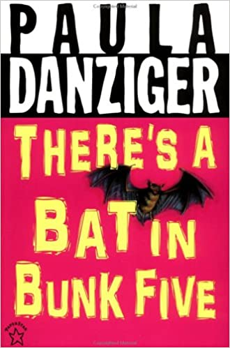 Paula Danziger, There's A Bat in Bunk Five, Humour, Funny, Camp, Young Adult, Summer, Summer Camp, Pink, Bat, Yellow Letters, Marcy Lewis