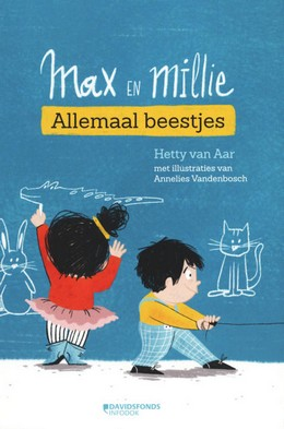 Annelies Vandenbosch, Tweeling, Schattig, Max en Millie : allemaal beestjes, Blue, Boy, Girl, Drawing, Illustrations, Poetry, Songs, Short Stories, Pets, Animals, Divorced Parents, Children's Books, Humour, Funny, Hetty van Aar,