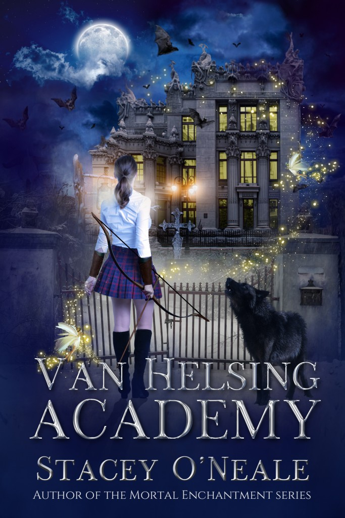Girl, Bow, House, Moon, Clouds, Night, Vampires, Shifters, Witches, Fantasy, Paranormal, Boarding School, Young Adult, YA, Romance, Van Helsing Academy, Van Helsing, Stacey O' Neale, BLue,