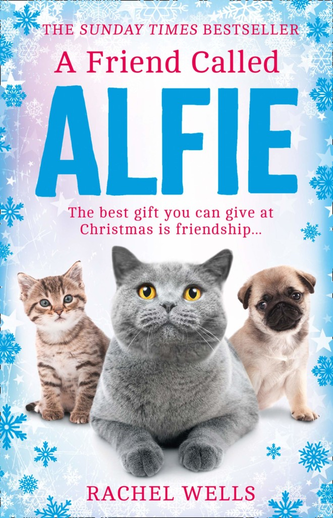 A Friend Called Alfie, Alfie, Rachel Wells, Holidays, Cats, Dogs, Snowflakes, Blue Border, Animals, Cute, Family, Friendship