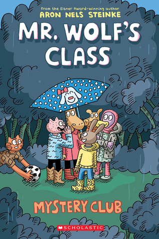 Mystery Club, Mr. Wolf's Class, Book 2, Children's Book, Graphic Novel, School, Mystery, Missing Items, Cat, Bunny, Pig, Animals, Aron Nels Steinke, Outside, Trees, Bushes, Umbrella