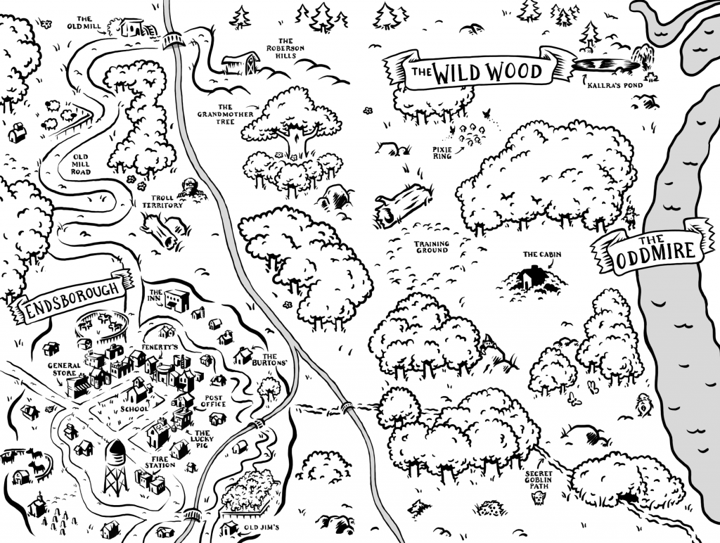 Children's Books, Oddmire, The Unready Queen, Map, Adventure, Woods, Rivers, Goblins, Magic, Fantasy
