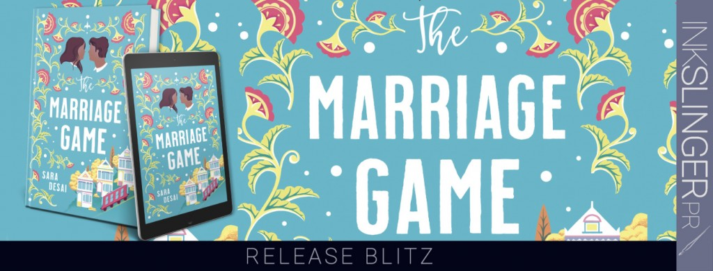 The Marriage Game, Sara Desai, Blue, Flowers, Houses, Tram, Dual POV, Romance, Contemporary, Cover Love, Heads, Man, Woman, San Francisco, Humour, Adult,