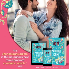 The Marriage Game, Sara Desai, Blue, Flowers, Houses, Tram, Dual POV, Romance, Contemporary, Cover Love, Heads, Man, Woman, San Francisco, Humour, Adult, Pink, Instagram, Laughing