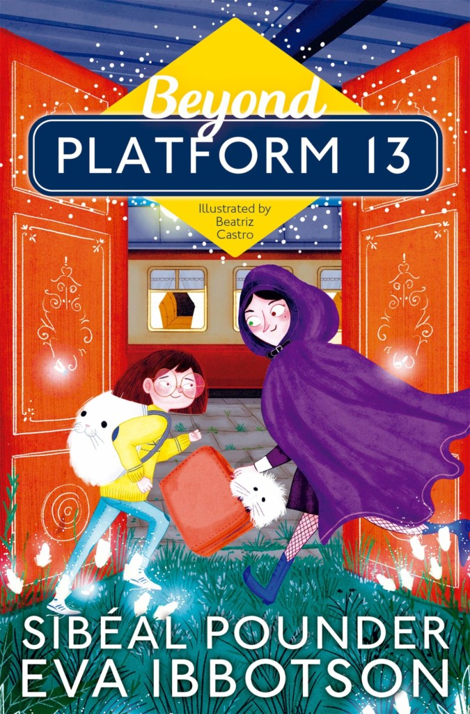 Beyond Platform 13, Beatriz Castro, Sibéal Pounder, Eva Ibbotson, Magic, Fantasy, Island, Pixies, Children's Books, Illustrations, Girl, Train, Purple Cape/Hood, Dog, Doors, Grass, Train station, Platform