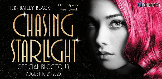 Chasing Starlight, Teri Bailey Black, Pink Hair, Girl, Face, Golden Letters, Hollywood, Murder, Mystery, Historical Fiction
