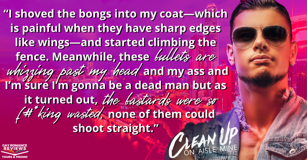 Clean Up on Aisle Mine, Patricia Logan, LGBT, Romance, Kidnapping, Dual POV, Purple, Red, Guy, Sunglasses, Teaser
