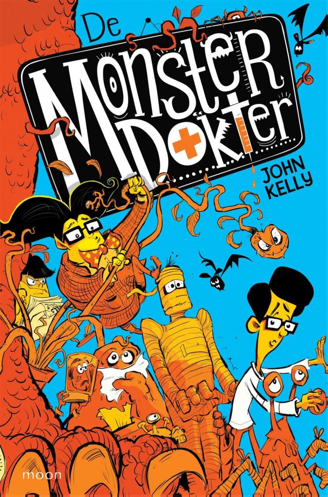 De Monsterdokter, The Monsterdoctor, Humour, Funny, John Kelly, Blue, Red, Orange, Assistant, Monsters, Fantasy, Children's Books, Dragon, Mummies,