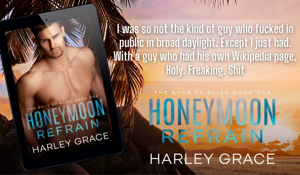 Honeymoon Refrain, Harley Grace, LGBT, Romance, Sex, Rockstar, Music, Famous, Honeymoon, Sunset, Palm trees, Half-naked man,