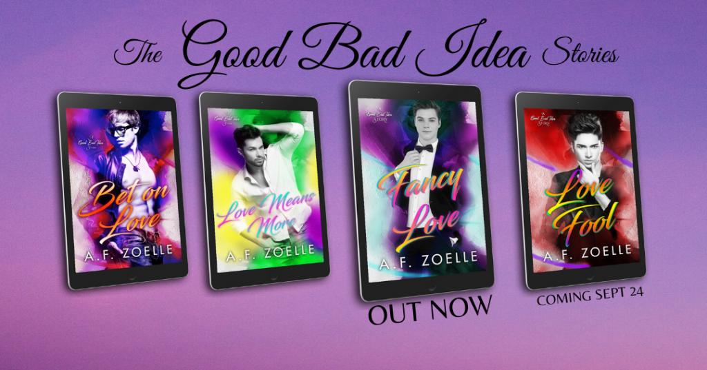 Bet on Love, Love Means More, Series, Love Fool, Love Fancy, A.F. Zoelle, LGBT, Purple, Suit, Man, Romance, LGBT, Sex, Dual POV,