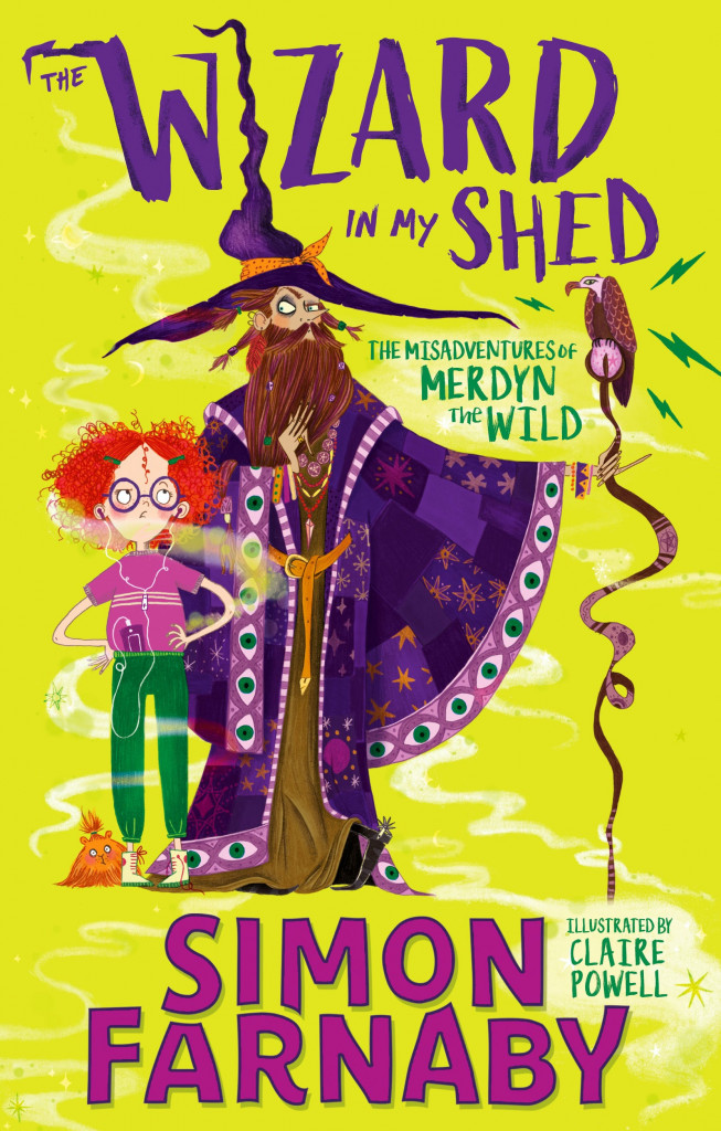 The Wizard In My Shed: The Misadventures of Merdyn the Wild, Yellow, Warlock, Fantasy, Magic, Guinea Pig, Girl, Red Hair, Staff, Bird, Funny, Humour, Learning about the modern world, Dark Ages, Vengeance, Family, Simon Farnaby, Claire Powell