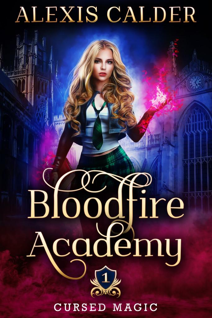 Bloodfire Academy, Purple, Blue, Black, Woman, Magic, Fantasy, Curse Magic #1, Alexis Calder, Shifters, Incubus, Mage, School, Romance