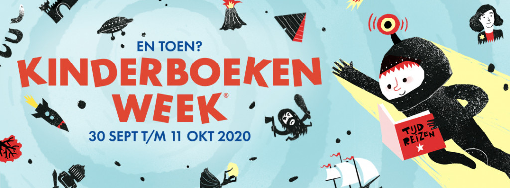 Kinderboekenweek, En Toen?, Flying, Reading, Children's Books, Kinderboeken, Reading, Lezen, Blue, Red Font, Books, Banner
