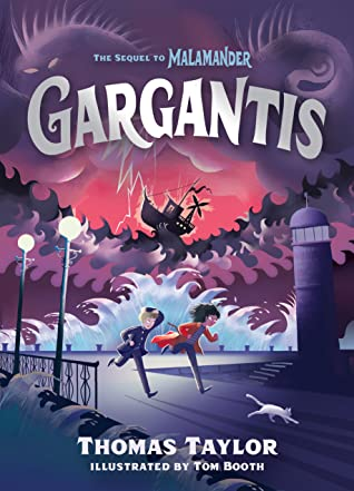 Gargantis (The Legends of Eerie-on-Sea, Book 2, Monster, Harbor, Pier, Monster in the Sky, Purple, Boy, Girl, Running, Cat, Children's Books, Fantasy, Magic, Monsters, Mystery