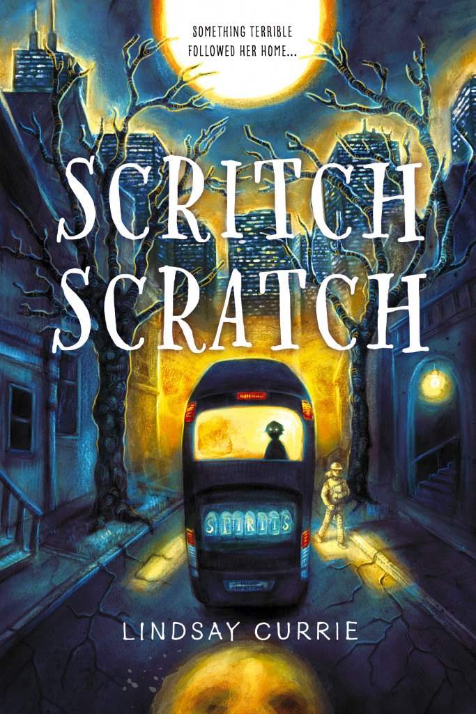 Scritch Scratch, Lindsay Currie, Bus, Shadow, Dark, Moon, Night, Trees, Houses, Horror, Children's Books, Ghosts, Halloween, Mystery