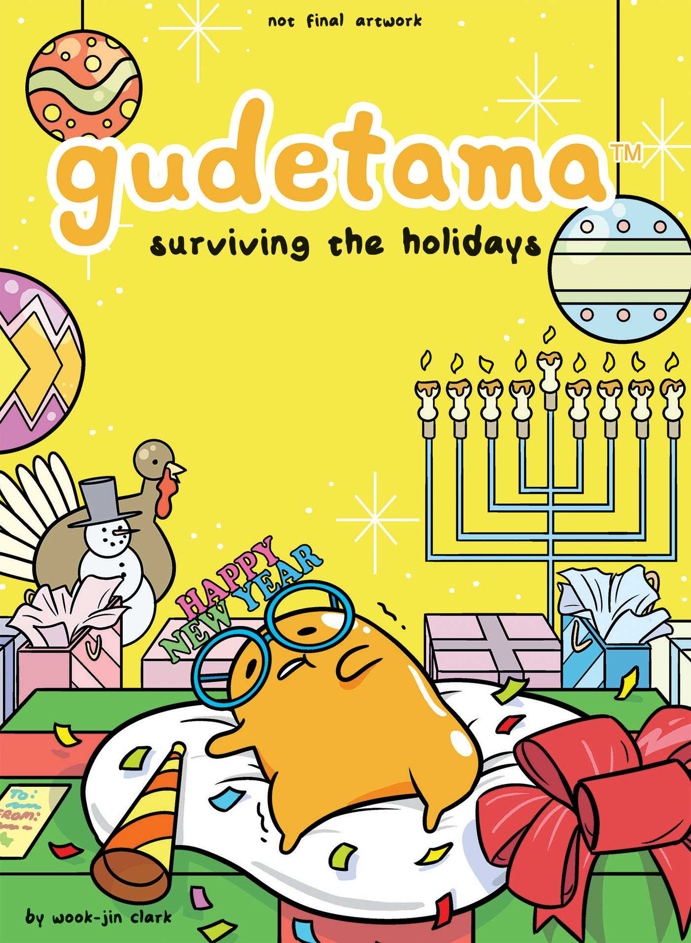 Gudetama, Gudetama: Surviving the Holidays, Wook-Jin Clark, Yellow, Holidays, Christmas, Hanukkah, Advice, Egg, Christmas, Comics