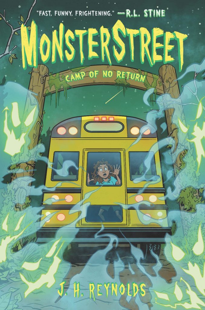 Camp of No Return, Monsterstreet, Book #4, Green, Camp, Logo, Yellow Bus, Girl, Lights, Ghosts, Ghouls, Horror, J.H. Reynolds, Spooky, Summer, Summer Camp, Mystery