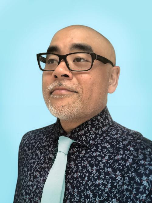 Dan Santat, Blue Tie, Glasses, Blue Background, Author, Photograph