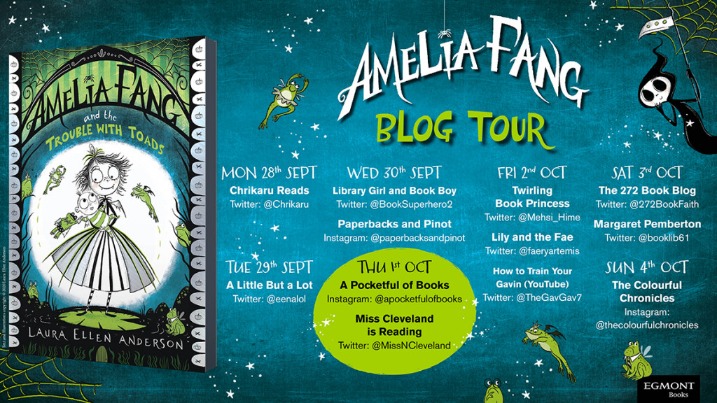 Amelia Fang, Amelia Fang and the Trouble With Toads, Green, Banner, Fantasy, Siblings, Brother, Baby, Girl, Moon, Lilypad, Pumpkin, Children's Books, Laura Ellen Anderson, Tour Banner
